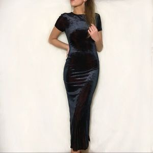 Black Red Long Evening Prom Dress W Leg Slit